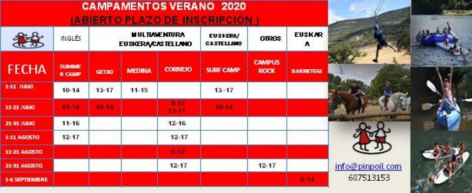 VERANO 2020 INCRIPCIONES